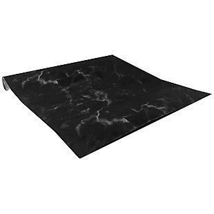"Home Basics Decorative Marble Solid Self-Adhesive Multi-Purpose 18"" x 120""  Shelf Liner, (Pack of 2), Black, , large"