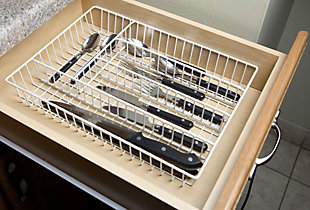 Home Basics Vinyl Coated Steel Cutlery Tray, , rollover