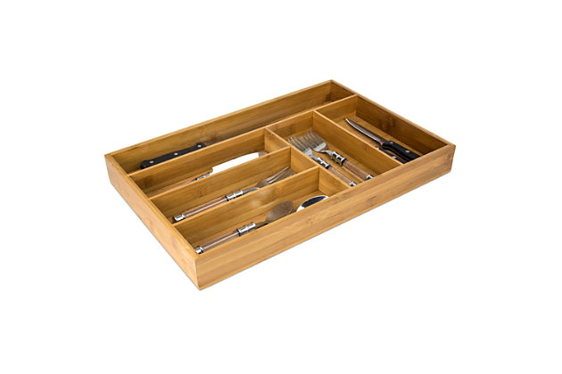 Home Basics Bamboo Cutlery Tray, , large