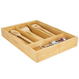 Home Basics Expandable Bamboo Utensil Tray, Natural, , large