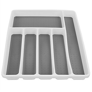 Home Basics Large Cutlery Tray with Rubber Lined Compartments, White, , large