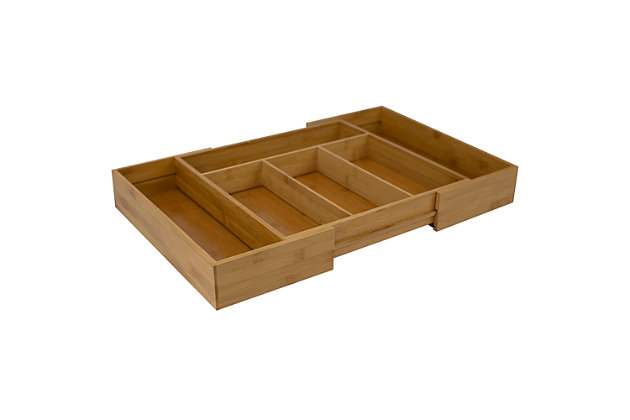 Home Basics Expandable Bamboo Cutlery Tray, Natural, , large