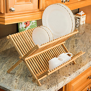 Home Basics Bamboo Foldable Dish Drainer, , rollover