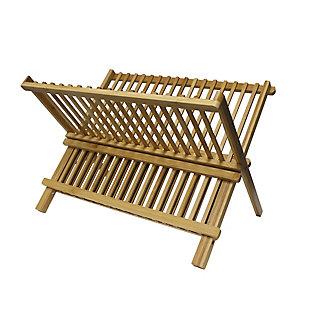 Home Basics Bamboo Foldable Dish Drainer, , large