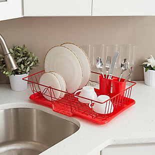 Home Basics 3 Piece Rust-Resistant Vinyl Dish Drainer with Self-Draining Drip Tray, Red, , rollover