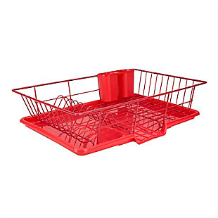 Home Basics 3 Piece Rust-Resistant Vinyl Dish Drainer with Self-Draining Drip Tray, Red, , large