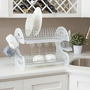 Home Basics 2 Tier Plastic Dish Drainer, White, , rollover