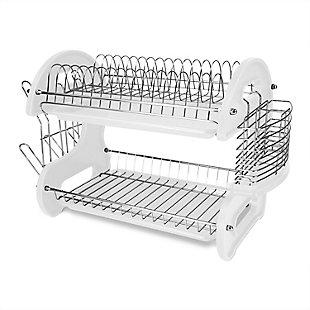 Home Basics 2 Tier Plastic Dish Drainer, White, , large