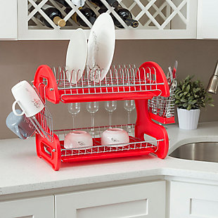 Home Basics 2-Tier Plastic Dish Drainer, , rollover
