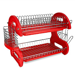 Home Basics 2-Tier Plastic Dish Drainer, , large