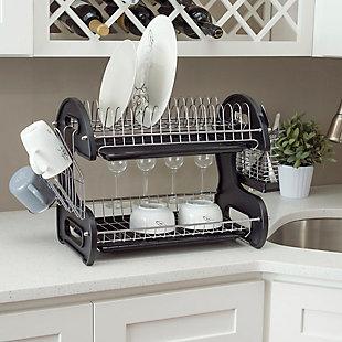 Home Basics 2 Tier Plastic Dish Drainer, Black, , rollover