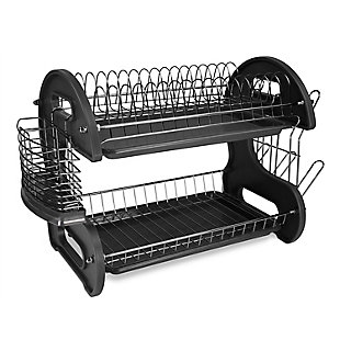 Home Basics 2 Tier Plastic Dish Drainer, Black, , large