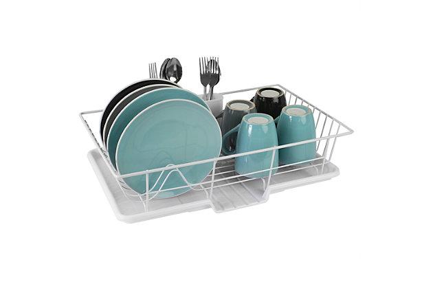 Home Basics 3 Piece Vinyl Coated Steel Dish Drainer, White, , large