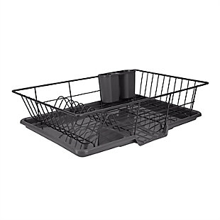 Home Basics 3 Piece Rust-Resistant Vinyl Dish Drainer with Self-Draining Drip Tray, Black, , large