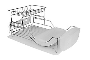Home Basics Chrome Plated Steel 2 Tier Deluxe Dish Drainer, , large