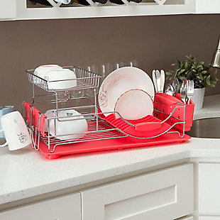 Home Basics 2-Tier Deluxe Dish Drainer, , rollover