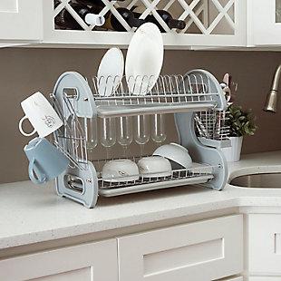 Home Basics S Shape  2 Tier Dish Drainer, Gray, , rollover
