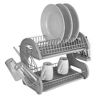 Home Basics S Shape  2 Tier Dish Drainer, Gray, , large