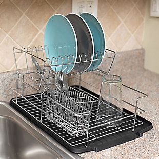 Home Basics Deluxe 2 Tier Dish Rack, Black, , rollover