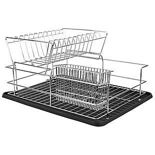 Home Basics Deluxe 2 Tier Dish Rack, Black, , large