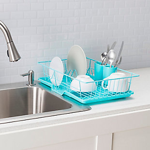 Home Basics 3 Piece Dish Drainer, Turquoise, , rollover