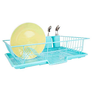 Home Basics 3 Piece Dish Drainer, Turquoise, , large