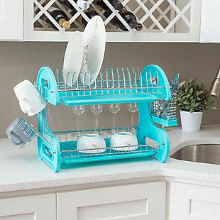 Home Basics 2 Tier Plastic Dish Drainer, Turquoise, , rollover