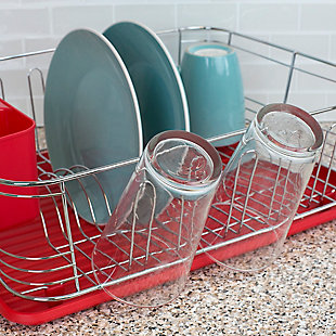 Home Basics 3 Piece  Chrome Plated Steel and Plastic Dish Rack, Red, , rollover
