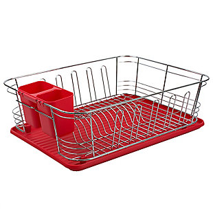 Home Basics 3 Piece  Chrome Plated Steel and Plastic Dish Rack, Red, , large