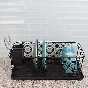 Home Basics 3 Piece Decorative Wire Steel Dish Rack, Bronze, , rollover