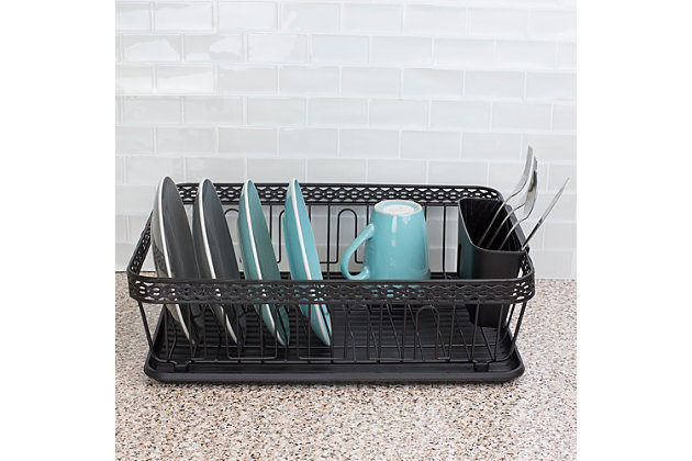 Home Basics 3 Piece Decorative Wire Steel Dish Rack, Bronze, , large