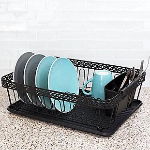 Home Basics 3 Piece Decorative WIre Steel Dish Rack, Black, , rollover