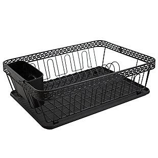 Home Basics 3 Piece Decorative WIre Steel Dish Rack, Black, , large