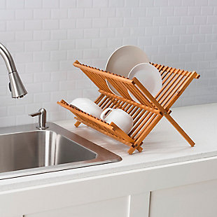 Home Basics Rustic Collection Pine Folding Dish Rack, , rollover