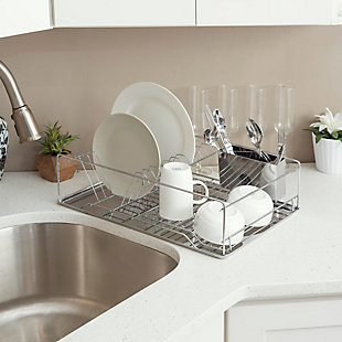 Home Basics Chrome Plated Steel Dish Rack with Tray, , rollover
