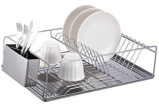 Home Basics Chrome Plated Steel Dish Rack with Tray, , large