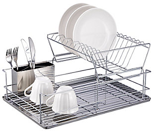 Home Basics 2-Tier 3 Piece Steel Dish Drainer, , large