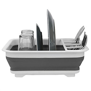 Home Basics Collapsible Silicone and Plastic Dish Rack, White/Gray, , large
