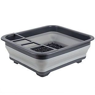 Home Basics Silicone and Plastic  Easy Storage Collapsible Dish Rack,Gray, , large