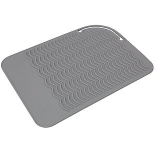 Home Basics Heat-Resistant Silicone Hair Styling Tool Mat, Gray, , large