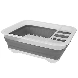 Home Basics Collapsible Plastic and Silicone Dish Rack, Clear, , large