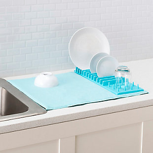 Home Basics Low Profile Plastic Dish Drying Rack with Buttoned Micro Fiber Drying Mat, Turquoise, , rollover