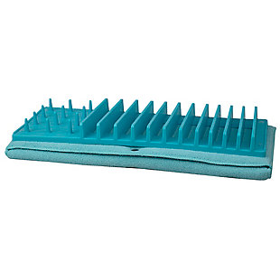 Home Basics Low Profile Plastic Dish Drying Rack with Buttoned Micro Fiber Drying Mat, Turquoise, , large