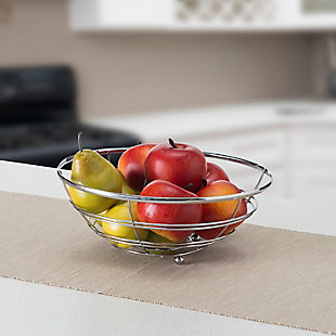 Home Basics Chrome Plated Steel Flat Wire Fruit Bowl, , rollover