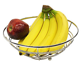 Home Basics Chrome Plated Steel Flat Wire Fruit Bowl, , large