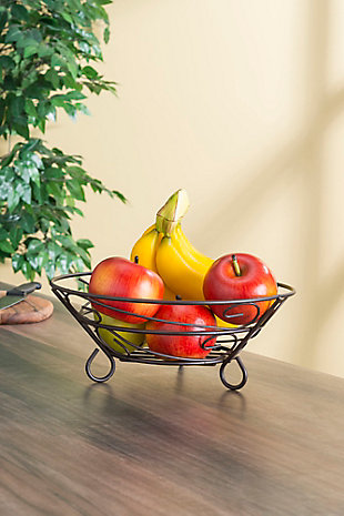 Home Basics Scroll Collection Steel Fruit Basket, Bronze, , rollover