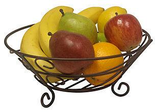 Home Basics Scroll Collection Steel Fruit Basket, Bronze, , large
