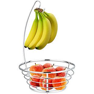 Home Basics Chrome Plated Steel Fruit Basket with Banana Tree, , large