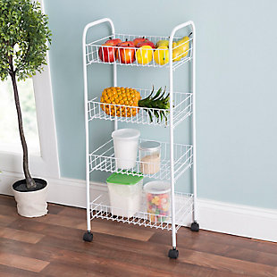 Home Basics 4 Tier Steel Kitchen Trolley, White, , rollover