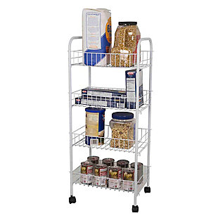 Home Basics 4 Tier Steel Kitchen Trolley, White, , large